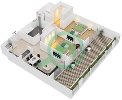 Botanica - 2 Beds Apartments type 2 Floor plan