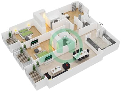 Botanica - 2 Beds Apartments type 1 Floor plan