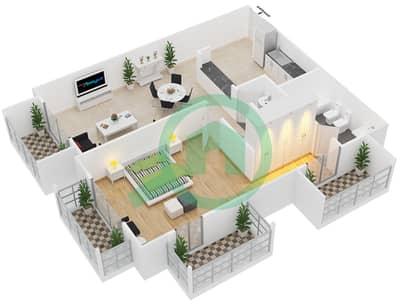 Botanica - 1 Bed Apartments type 6 Floor plan
