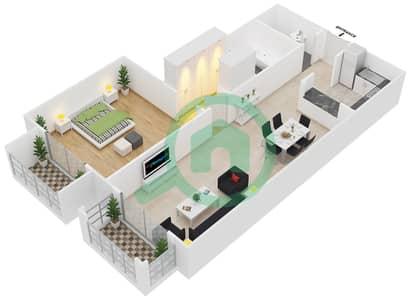 Botanica - 1 Bed Apartments type 5 Floor plan