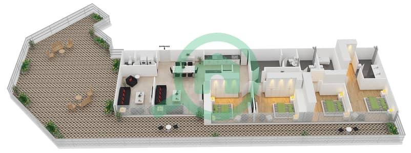 زايا هاميني - 4 غرف شقق اكتب E1 مخطط الطابق