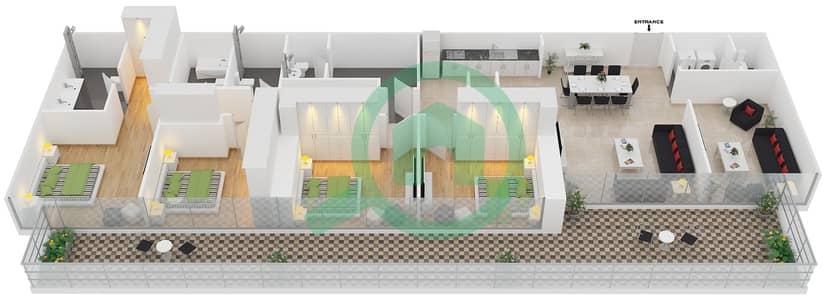 زايا هاميني - 4 غرف شقق اكتب E مخطط الطابق