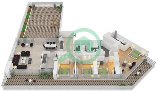 زايا هاميني - 4 غرف شقق اكتب D مخطط الطابق