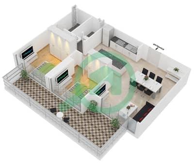 زايا هاميني - 2 غرفة شقق اكتب B2 مخطط الطابق