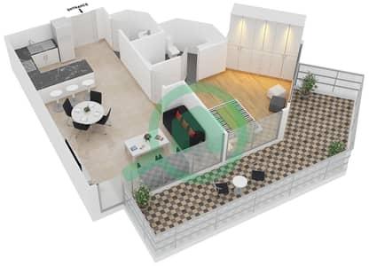 زايا هاميني - 1 غرفة شقق اكتب C مخطط الطابق