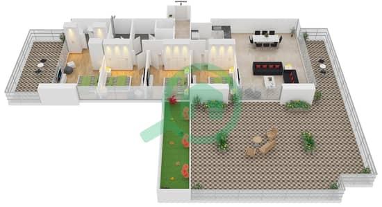 زايا هاميني - 4 غرف شقق اكتب C مخطط الطابق