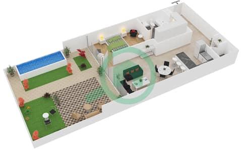 زايا هاميني - 1 غرفة شقق اكتب B1 مخطط الطابق