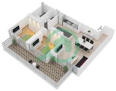 زايا هاميني - 2 غرفة شقق اكتب B1 مخطط الطابق