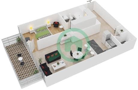 زايا هاميني - 1 غرفة شقق اكتب B مخطط الطابق
