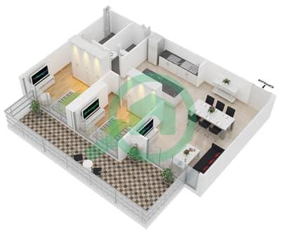 زايا هاميني - 2 غرفة شقق اكتب B مخطط الطابق