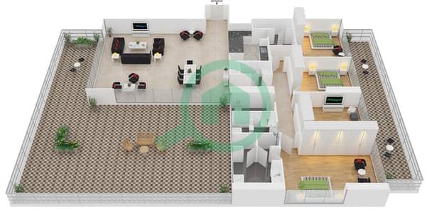 زايا هاميني - 4 غرف شقق اكتب B مخطط الطابق