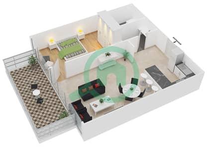 زايا هاميني - 1 غرفة شقق اكتب A مخطط الطابق
