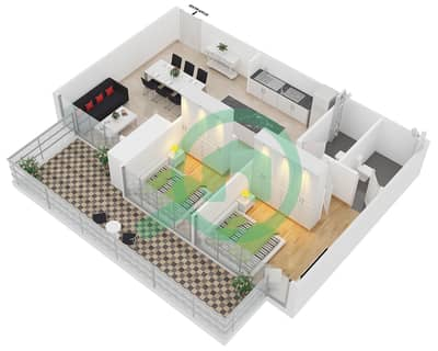 زايا هاميني - 2 غرفة شقق اكتب A مخطط الطابق