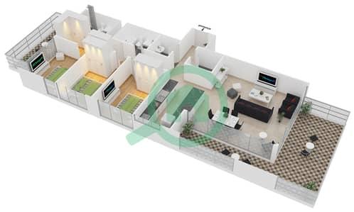 زايا هاميني - 3 غرف شقق اكتب A مخطط الطابق