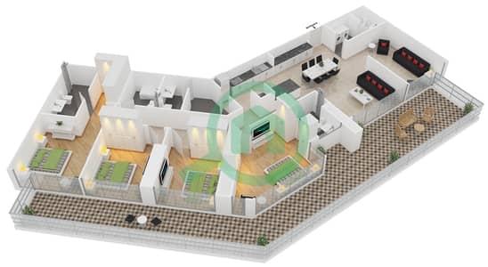 زايا هاميني - 4 غرف شقق اكتب A مخطط الطابق