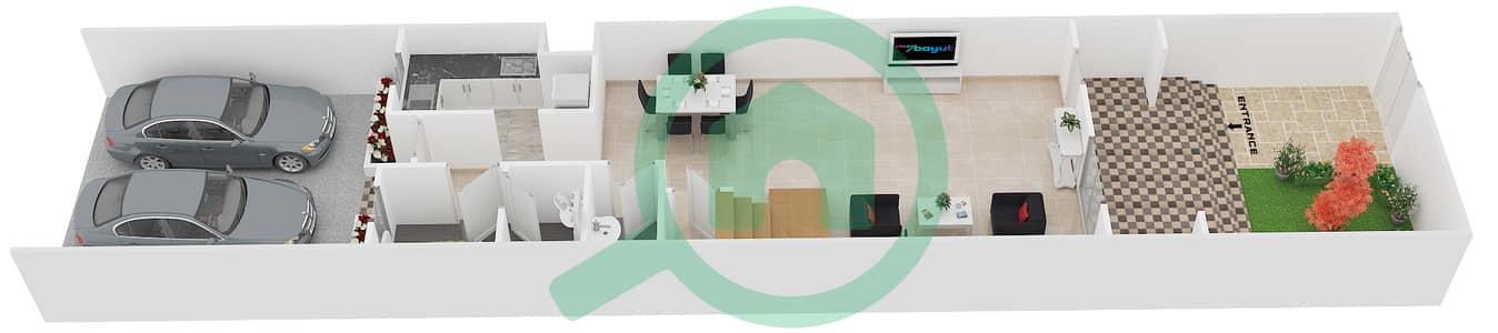 المخططات الطابقية لتصميم النموذج 3 فیلا 3 غرف نوم - ملبيري بارك