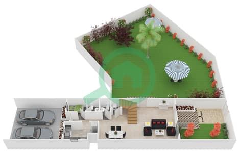 المخططات الطابقية لتصميم النموذج 2 فیلا 3 غرف نوم - ملبيري بارك