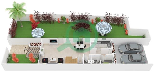 المخططات الطابقية لتصميم النموذج 1 فیلا 3 غرف نوم - ملبيري بارك
