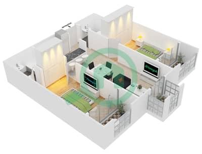 المخططات الطابقية لتصميم النموذج C7 شقة 2 غرفة نوم - ميدان هانوفر