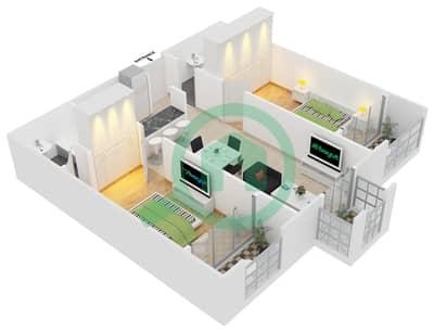 المخططات الطابقية لتصميم النموذج C6 شقة 2 غرفة نوم - ميدان هانوفر