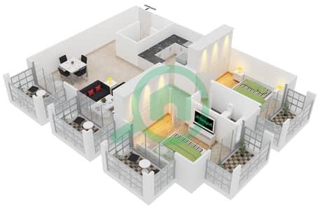 المخططات الطابقية لتصميم النموذج C4 شقة 2 غرفة نوم - ميدان هانوفر
