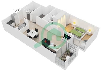 المخططات الطابقية لتصميم النموذج C9 شقة 1 غرفة نوم - ميدان هانوفر