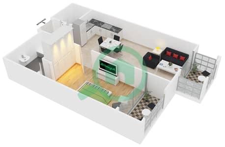 المخططات الطابقية لتصميم النموذج C8 شقة 1 غرفة نوم - ميدان هانوفر