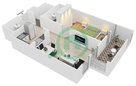 المخططات الطابقية لتصميم النموذج C3 شقة 1 غرفة نوم - ميدان هانوفر