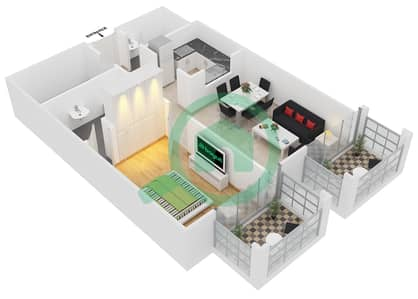 المخططات الطابقية لتصميم النموذج C2 شقة 1 غرفة نوم - ميدان هانوفر