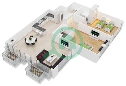 المخططات الطابقية لتصميم النموذج 4 شقة 2 غرفة نوم - حدائق الإمارات 2