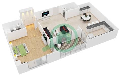 المخططات الطابقية لتصميم النموذج 3 شقة 1 غرفة نوم - حدائق الإمارات 2