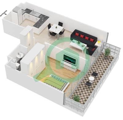 المخططات الطابقية لتصميم النموذج E شقة 1 غرفة نوم - ابراج بلووم