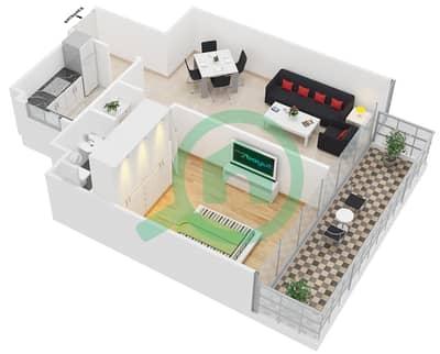 المخططات الطابقية لتصميم النموذج D شقة 1 غرفة نوم - ابراج بلووم