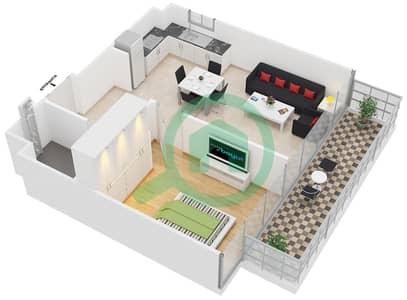 المخططات الطابقية لتصميم النموذج B شقة 1 غرفة نوم - ابراج بلووم