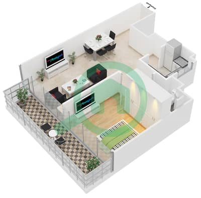 المخططات الطابقية لتصميم النموذج C شقة 1 غرفة نوم - ابراج بلووم