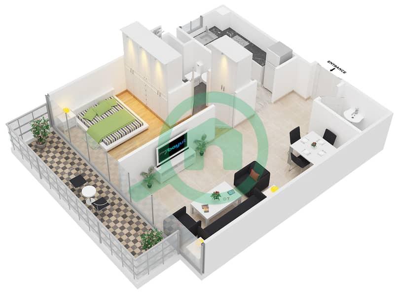 المخططات الطابقية لتصميم النموذج A شقة 1 غرفة نوم - ابراج بلووم 3D