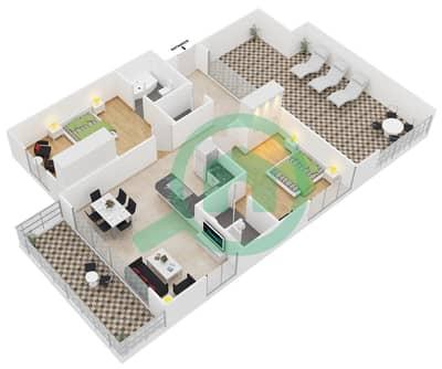 المخططات الطابقية لتصميم النموذج 2 شقة 2 غرفة نوم - مساكن ديزاير