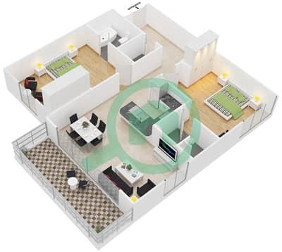 المخططات الطابقية لتصميم النموذج 1 شقة 2 غرفة نوم - مساكن ديزاير