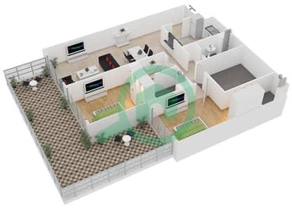 المخططات الطابقية لتصميم الوحدة G06 شقة 2 غرفة نوم - لايا رزيدنسز