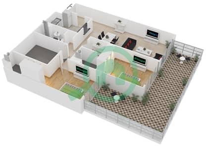 المخططات الطابقية لتصميم الوحدة G05 شقة 2 غرفة نوم - لايا رزيدنسز