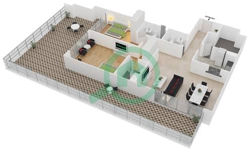 المخططات الطابقية لتصميم الوحدة G1B شقة 2 غرفة نوم - لايا رزيدنسز