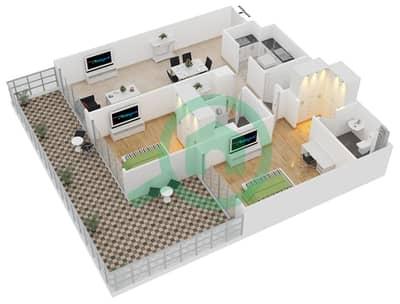 المخططات الطابقية لتصميم الوحدة 419 شقة 2 غرفة نوم - لايا رزيدنسز