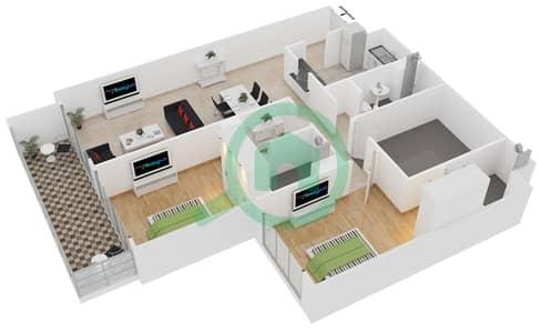 المخططات الطابقية لتصميم الوحدة 406 شقة 2 غرفة نوم - لايا رزيدنسز