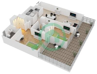 المخططات الطابقية لتصميم الوحدة 405 شقة 2 غرفة نوم - لايا رزيدنسز