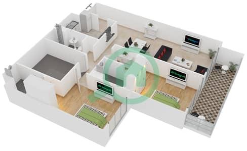 المخططات الطابقية لتصميم الوحدة 105 شقة 2 غرفة نوم - لايا رزيدنسز