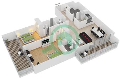 المخططات الطابقية لتصميم الوحدة 102 شقة 2 غرفة نوم - لايا رزيدنسز