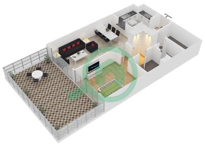 المخططات الطابقية لتصميم الوحدة G16 شقة 1 غرفة نوم - لايا رزيدنسز