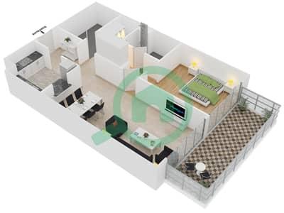 المخططات الطابقية لتصميم الوحدة 410 شقة 1 غرفة نوم - لايا رزيدنسز