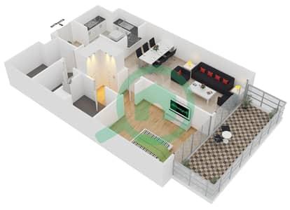 المخططات الطابقية لتصميم الوحدة 409 شقة 1 غرفة نوم - لايا رزيدنسز