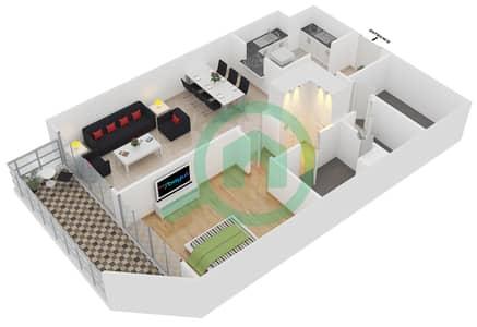 المخططات الطابقية لتصميم الوحدة 408 شقة 1 غرفة نوم - لايا رزيدنسز